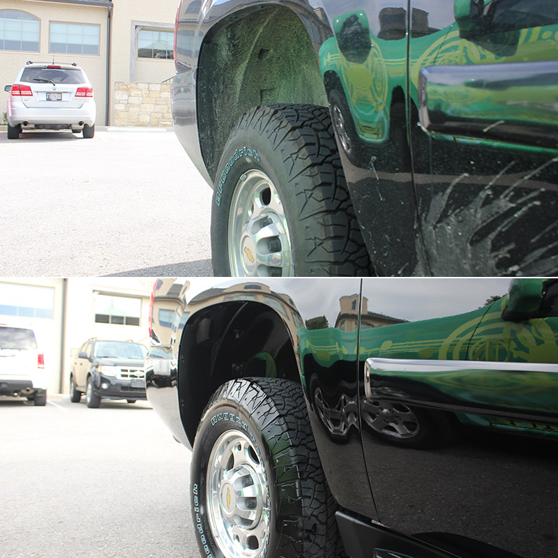 Before & After images of EcoGreen Detail Services on the paint of truck.