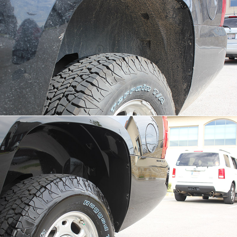 Before & After images of EcoGreen Detail Services on a truck exterior.