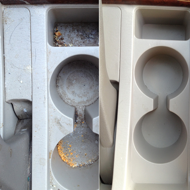 Before & After images of EcoGreen Detail Services on cupholder area.