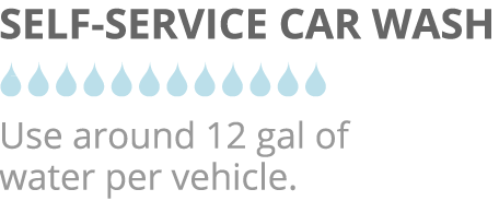 Image comparing a Self-Service car wash against EcoGreen's Water-Less car washing service.