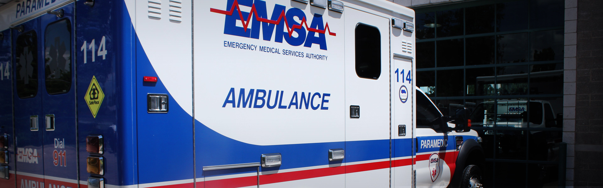 Picture of an EMSA truck in EcoGreen Fleet & Group Detailing Banner