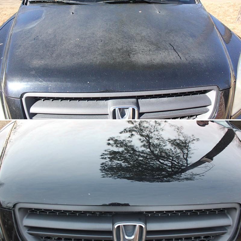 Image of the front of a Honda before & after Paint Correction Services