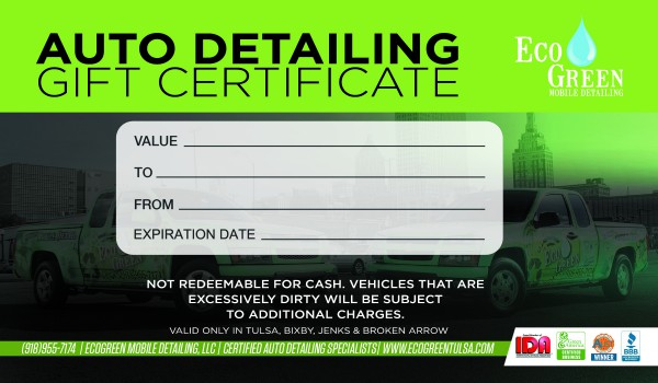 Gift certificates ecogreen mobile detailing for Automotive gift certificate template