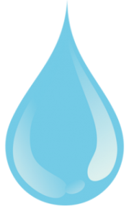 Image of water droplet with a water savings in gallons